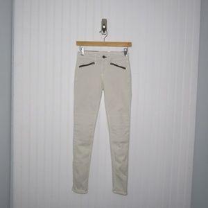 "Rag & Bone | ""Bone"" White Ridley Moto Skinny Jeans"